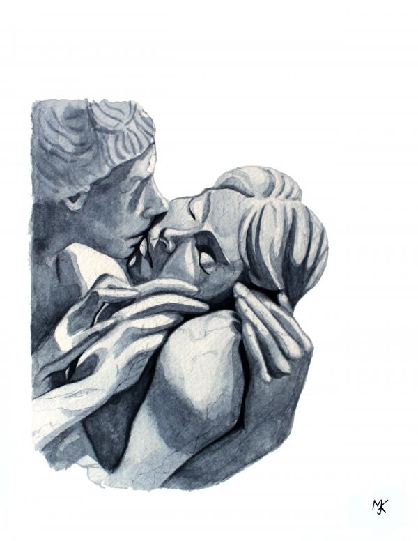 Naar The Kiss van Yves Pires_Waterverf_13X19_2020